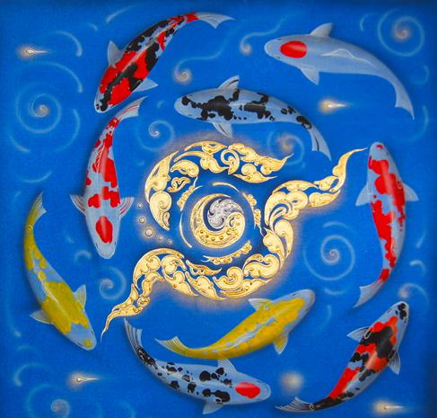 Tableau Peinture Thailande 9 Koi Fish Painting