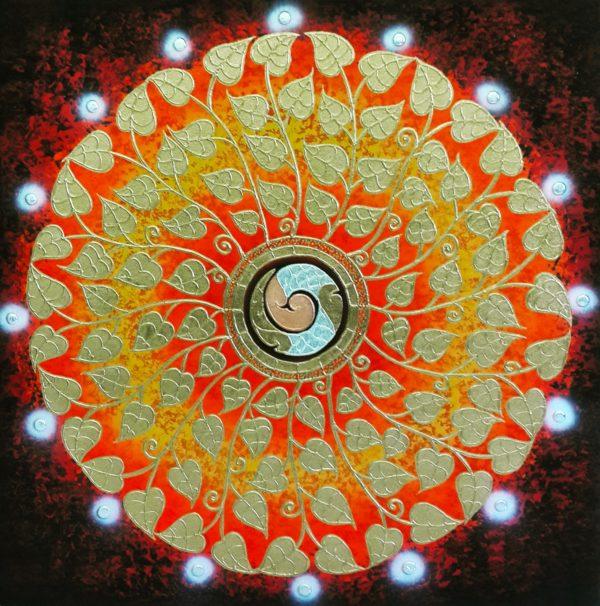 Tableau Peinture Thailande Abstract Canvas Painting Gold Bodhi Leaf Mandala