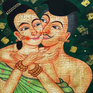 Tableau Peinture Thailande Ancient Asian Art The Love Whisper Thai Painting