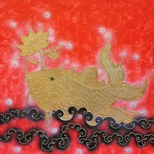 Tableau Peinture Thailande Art Animal Asian Thai Gold Fish