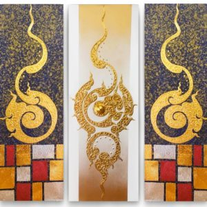 Tableau Peinture Thailande Asian Classic Pattern Traditional Painting