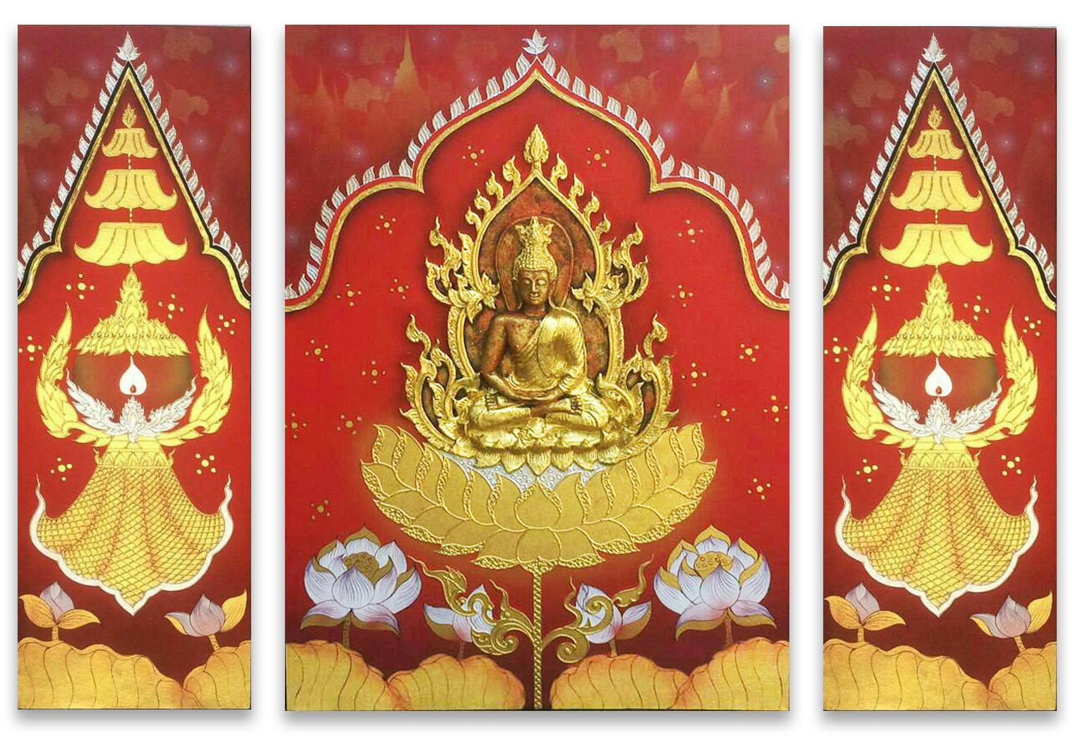tableau peinture thailande buddha art on heaven painting assistant shopping. Black Bedroom Furniture Sets. Home Design Ideas