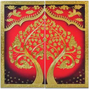 Tableau Peinture Thailande Buddha Bodhi Tree Painting