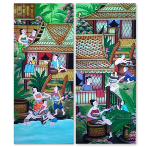 Tableau Peinture Thailande Country Art Thai Water Festival