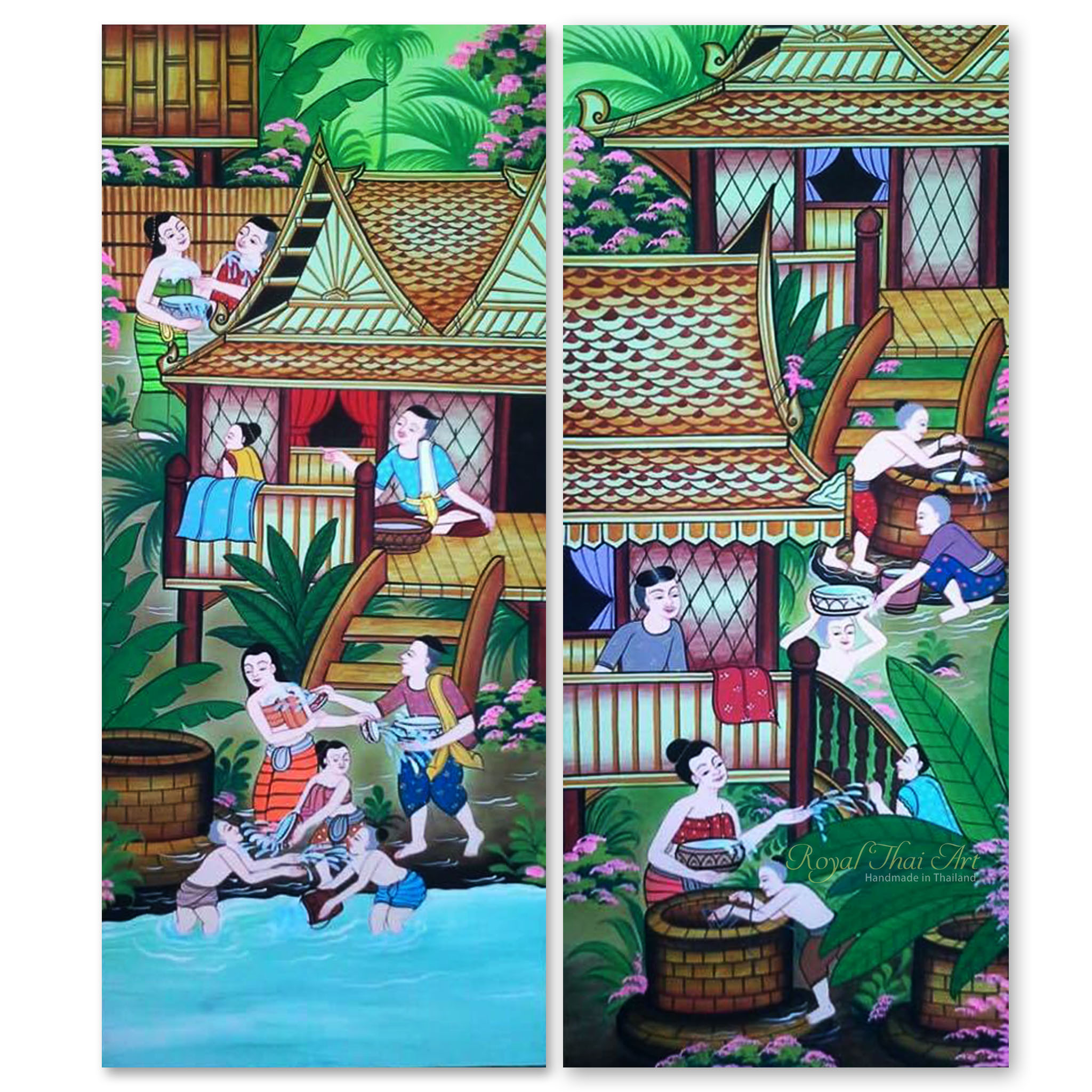 tableau peinture thailande country art thai water festival assistant shopping. Black Bedroom Furniture Sets. Home Design Ideas