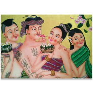 Tableau Peinture Thailande Decorative Art Thai Loy Krathong
