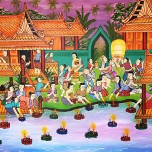 Tableau Peinture Thailande Famous Art Traditional Thai Loy Krathong