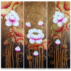 Tableau Peinture Thailande Famous Flower Painting Ancient Golden Thai Lotus