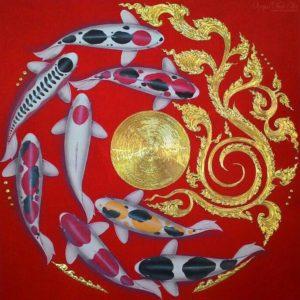 Tableau Peinture Thailande Famous Koi Fish Painting