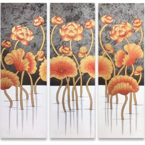 Tableau Peinture Thailande Flower Painting Beautiful Nightly Golden Thai Lotus