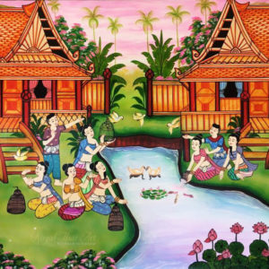 Tableau Peinture Thailande Folk Art Traditional Thai Lifestyle