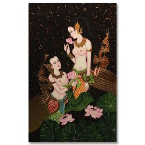 Tableau Peinture Thailande Golden Lady Painting Thai Bird Kinnaree