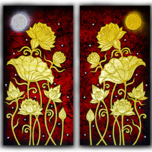 Tableau Peinture Thailande Golden Lotus Paintings Under Full Moon