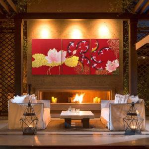 Tableau Peinture Thailande Japanese Koi Art