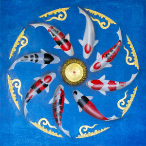 Tableau Peinture Thailande Koi Fish Art Asian Thai