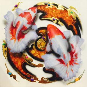 Tableau Peinture Thailande Koi Fish Art Harmony