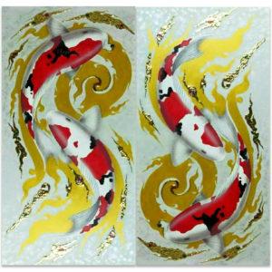 Tableau Peinture Thailande Koi Painting