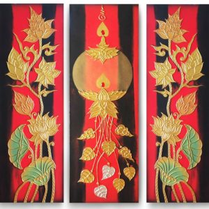 Tableau Peinture Thailande Lotus Canvas Painting Thai Art