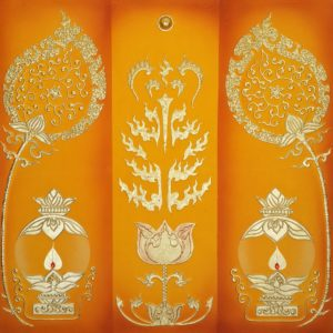 Tableau Peinture Thailande Lotus Decor Ancient Thai Pattern With Lighted Candles