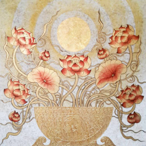 Tableau Peinture Thailande Lotus Fine Art Under The Moon