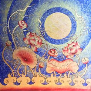 Tableau Peinture Thailande Lotus Flower Wall Art Under Thai Golden Moon
