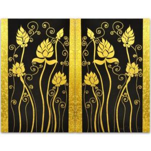 Tableau Peinture Thailande Lotus Painting Classical Gold Color