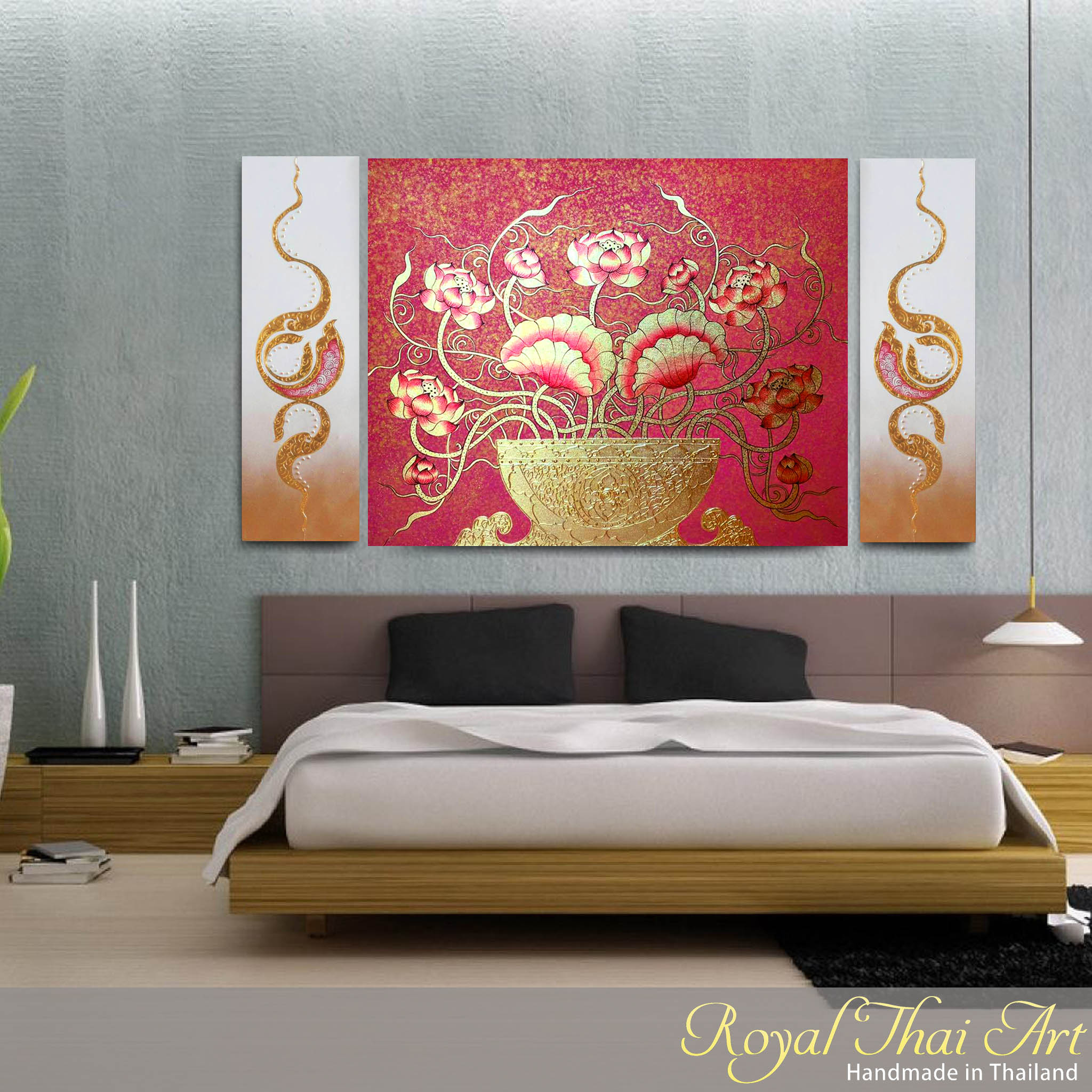 Tableau Peinture Thailande Lotus Wall Decor Exclusive Thai Design