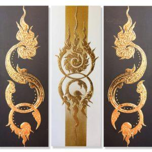 Tableau Peinture Thailande Multi Panel Canvas Art Ancient Golden Pattern
