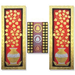 Tableau Peinture Thailande Oriental Art Bodhi Tree Leaf
