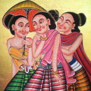 Tableau Peinture Thailande Primitive Art Traditional Thai Lady