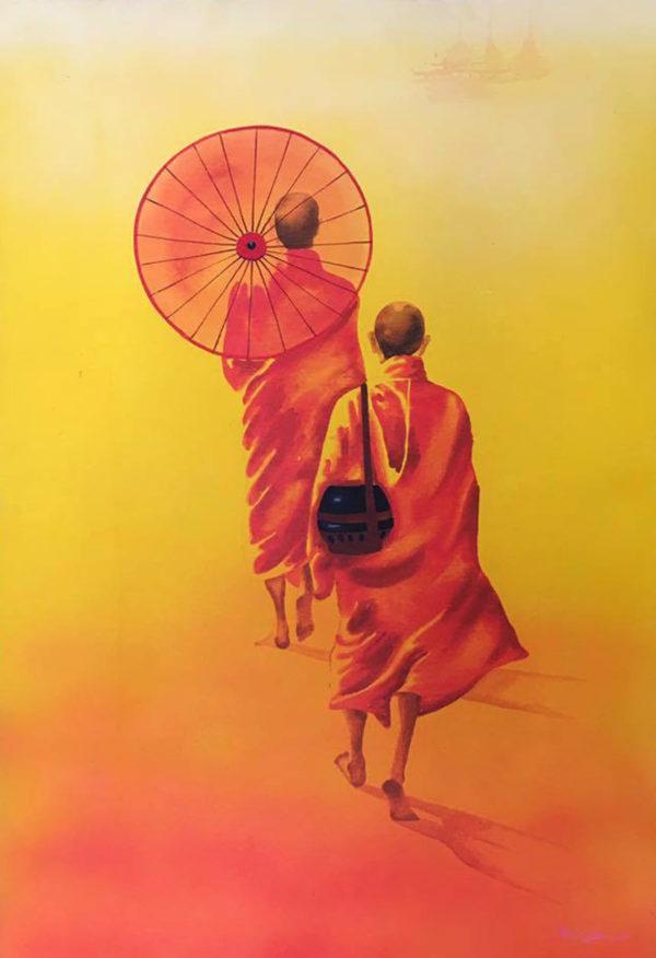 Tableau Peinture Thailande Thai Buddha Painting