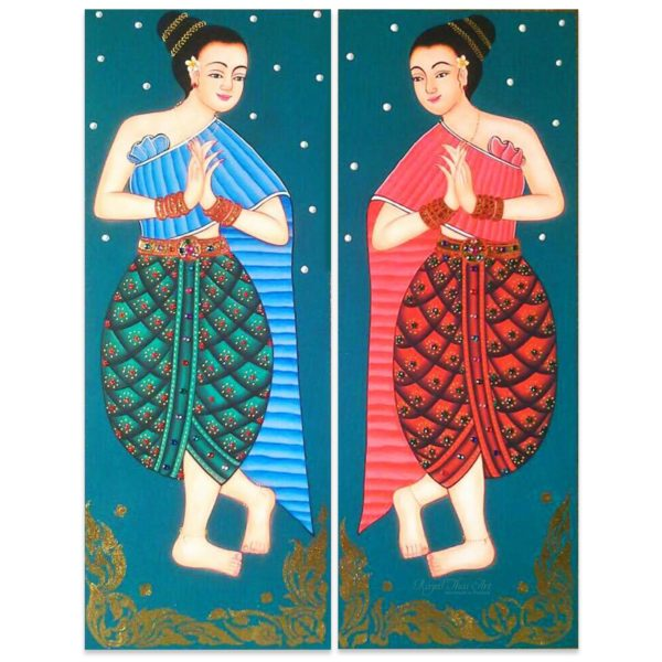 Tableau Peinture Thailande Thai Decor Sawasdee Ancient Lady Painting