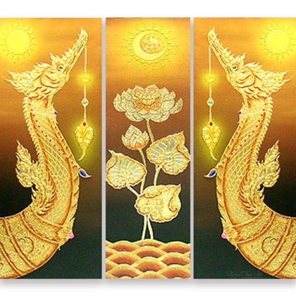 Tableau Peinture Thailande Thai Royal Barge Suphannahong Painting