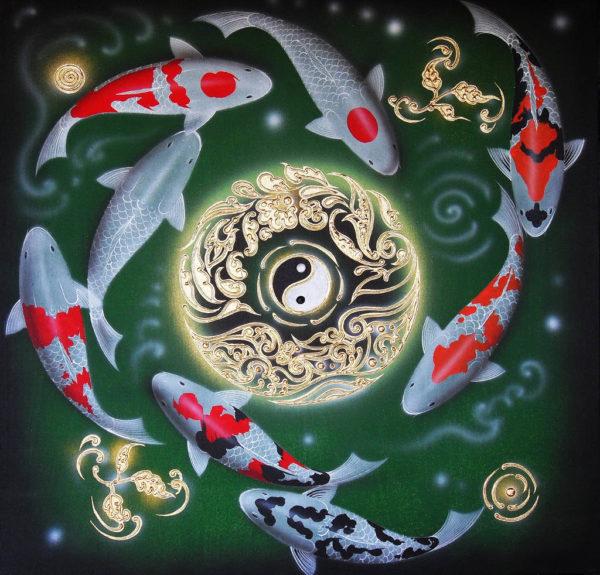 Tableau Peinture Thailande Yin and Yang Japanese Koi Carp Painting