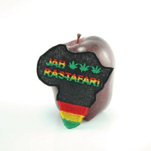Ecusson Rastafari Brodé Jah Rastafari Forme Afrique Finition Main