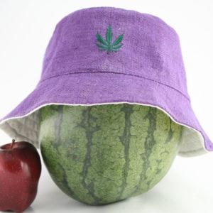 Bob Feuille de Cannabis Brodée sur le Devant, Chapeau Rasta Couleur Mauve