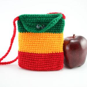Sac Rasta Passeport Crochet Bandoulière Rouge et Bouton Fermeture 10x14 cm