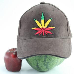 Casquette Marron Flexfit Feuille de Cannabis