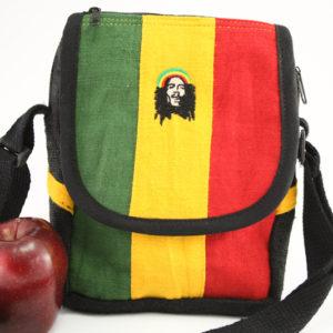 Sacoche Bob Marley Chanvre Bandoulière Velcro Zip 16x23 cm