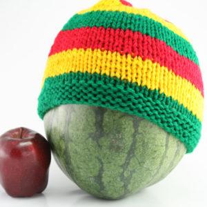 Bonnet Vert Or Rouge Bandes Larges 23x18 cm