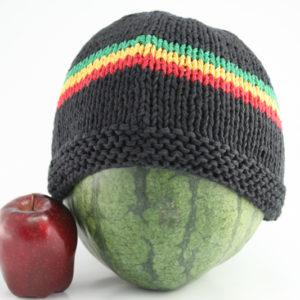Bonnets Rasta Noirs Bandes Reggae au Milieu