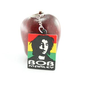 Porte-Clés Caoutchouc Portrait Bob Marley Noir et Blanc sur Bandes Couleurs